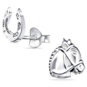 Tiwoca Jewellery Boucles d'oreilles pour enfant en forme de cheval et fer à cheval en argent 925 avec étui à bijoux Tiwoca et chiffon de nettoyage inclus (Tiwoca, neuf)