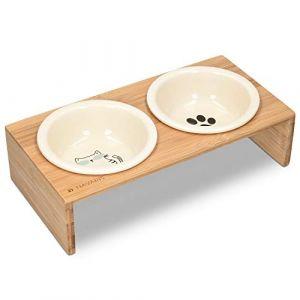 Navaris Gamelle Double Chien ou Chat - Gamelles Céramique avec Support en Bois Design - 2X Bol 360 ML avec Porte-Gamelles pour Croquette Eau Pâtée (KW-Commerce, neuf)