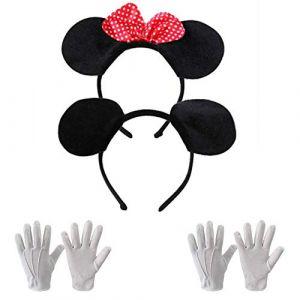 Amasawa Bandeau Mickey Minnie, Gants Blancs Costume d'halloween Costume De Bal, Convient à l'adulte, Aux Enfants, La Danse (Eamasawa, neuf)