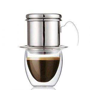 ECHI Coffee Percolator, Filtres à goutte de café vietnamien en acier inoxydable, Single Cup Coffee Drip Pot Brewer - Portable, sans papier pour Home Kitchen Office Outdoor Use (echi-fashion, neuf)