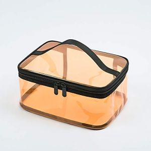 Trousse de toilette transparente, trousse de voyage, trousse de toilette imperméable, orange (petit carré) (black yu, neuf)