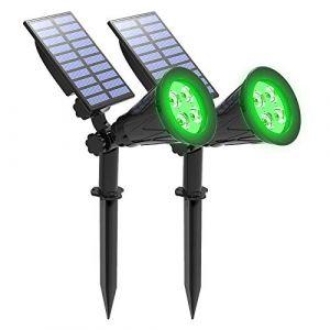 Lampes de jardin solaires, T-SUNRISE 4 LED Spot solaire extérieur, 2 modes lumineux Lumières de sécurité, IP65 imperméable à l'eau de paysage pour Tree Yard Patio pelouse (2Pack vert) (T-SUN Tech EU, neuf)