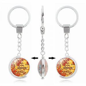 Porte-clés Umerbee Porte-clés rotatif à double face carte de Boston Porte-clés temps Gems Porte-clés Porte-clés cadeau (Umerbee, neuf)