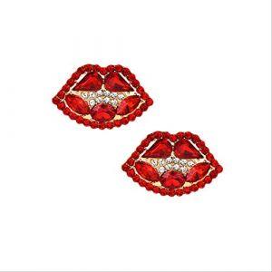 Boucle d'oreille pendantes boucles d'oreilles pompon boucles d'oreilles Vintage Boho cristal bouche boucles d'oreilles à la main frange pour les femmesrouge (Graceguoer, neuf)
