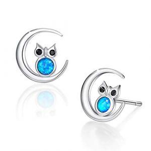 SIMPLOVE, boucles d'oreilles avec hibou en opale, hibou de la sagesse en argent sterling 925 sur un symbole en croissant de lune (Simplgirl Jewellery, neuf)