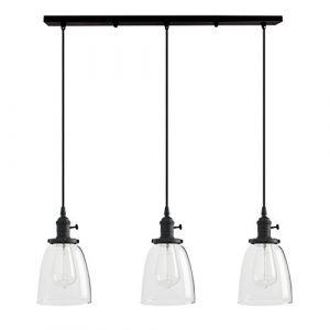 Pathson vintage industriel Loft Lustre Barre de Bell en verre transparent Globe Abat-jour pour lampe suspension 3lampes à suspendre (Surnom Beihu-FR, neuf)
