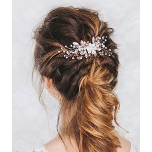 Aukmla - Peigne à cheveux de mariage à strass et fleurs, accessoires de mariage pour mariée et demoiselle d'honneur (Simsly-UK, neuf)