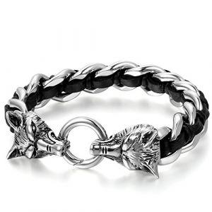 JewelryWe Bijoux Bracelet Manchette Double Tête de Loup Tresse Acier Inoxydable Chaîne de Main Motard Biker Couleur Noir Argent avec Sac Cadeau (JewelryWe Bijoux, neuf)
