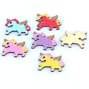 Aucun trou 50 pcs boutons en bois naturel aile cheval modèle à la main Scrapbooking artisanat 21x27mm MT1553 (HATOLY Official Store, neuf)
