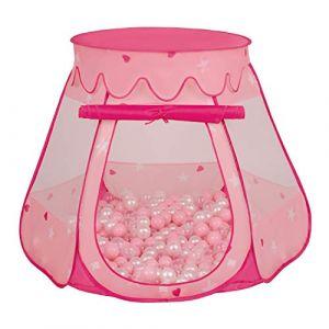 Selonis Tente Château avec Les Balles Plastiques Piscine À Balles pour Enfants, Rose: Rose Poudré-Perle-Transparent,105X90cm/300 Balles (OtherEden &  DUmalDU, neuf)