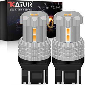 KATUR 7443 7440 7441 W21W T20 LED Ampoules 12pcs 3020SMD chipsets 2800 lumens utilisés pour Clignotant, feu arrière, feu Stop ou DRL, Jaune Ambre (Pack de 2) (KAtur, neuf)
