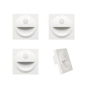 Arote LED Applique Encastré Murale d'escalier éclairage étape escalier lampe avec Détecteur de Mouvement en Plastique IP20 (Blanc, 3000K) (Wonderful2018, neuf)