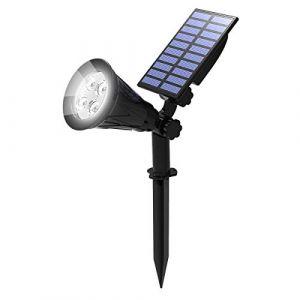 T-SUN Lampe Solaire Extérieur, Solaire Projecteur, Extérieur sans Fil Etanche IP65 Lampe Jardin avec 180° Réglable Spot Solaire Extérieur pour Jardin, Cour, Chemin, Allé. (6000K Blanc Froid) (T-SUNLED, neuf)