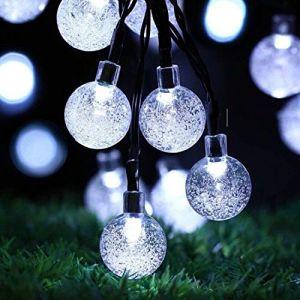 Guirlande lumineuse solaire de jardin 50 LED d'extérieur Boule de cristal Guirlande lumineuse de fée Lumières de fée Étanche 24Ft Éclairage décoratif pour jardin, terrasse, cour, Noël (Blanc) (Useber Ltd, neuf)