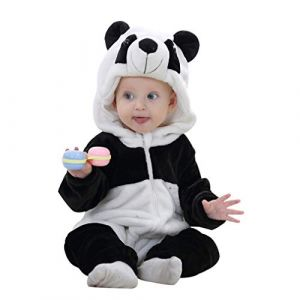 COOKY.D Infantile à Capuche Bébé Barboteuses Doux Flanelle Hiver Animaux Cosplay Costume Combinaison pour Bébés Filles Garçons, 0-24 Mois, Panda, 80cm (MICHLEY INTERNATIONAL, neuf)