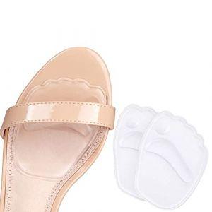 Demi semelle silicone avant pied, semelle auto adhesive chaussures, 2 pcs semelle chaussure trop grande, antidérapant coussinet plantaire avant pied (Leejun-EU, neuf)