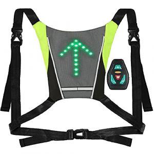 Lixada Gilet de Cyclisme USB Rechargeable Réfléchissant Sac à Dos avec LED Clignotant Télécommande en Plein Air Sport Sac de Sécurité Gear pour Cyclisme Courir Marche Jogging (Docerlay, neuf)