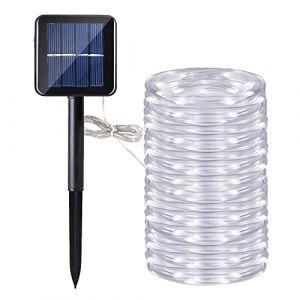 Guirlande Ruban Lumineuse Solaire,DINOWIN 200 LEDs 72ft/22M de Cuivre Extérieur Tube Rope Guirlande Lumineuse Décorative pour Jardin, Cour, Mariage, Fête (Blanc) (DinowinDirect, neuf)