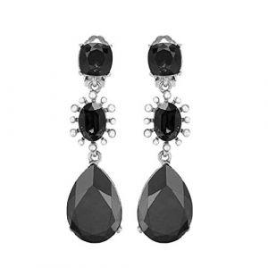 TAOtTAO Femmes Boucles d'oreilles Goutte d'eau en Verre Baroque Rétro Couleur Diamant,Clous d'oreilles (Noir) (TAOtTAO, neuf)