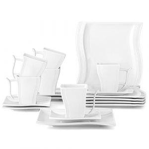 MALACASA Série Flora 18pcs Service de Table Service à Café Thé 6 Tasses, 6 Soucoupes, 6 Assiette à Dessert Porcelaine pour 6 Personnes (BEAUTY NATURE  LIMITED, neuf)