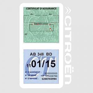 Générique Étui Double Assurance Citroën Blanc Porte Vignette adhésif Voiture Stickers Auto Retro (Stickers-auto-retro, neuf)