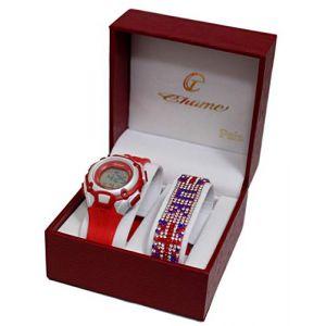Coffret Montre Enfant ADO Fille London Londres + Bracelet Drapeau Anglais UK Strass (licence team, neuf)