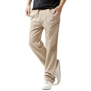 MODCHOK Homme Pantalons Jogging Long Pants Loose Coupe Droite Survêtement Sport - Beige - Taille S (Athenawin, neuf)
