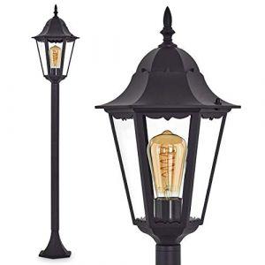 Lampadaire HongKong vintage en fonte d'aluminium noir, luminaire d'extérieur (IP44) pour 1 ampoule E27 max 100 Watt,compatible ampoules LED (hofstein, neuf)