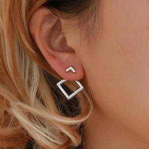 Yienate Boucles d'Oreilles Boho Simple Géométrique Creux Diamant Carré Clou d'Oreille pour Femme et Fille (Yienate, neuf)