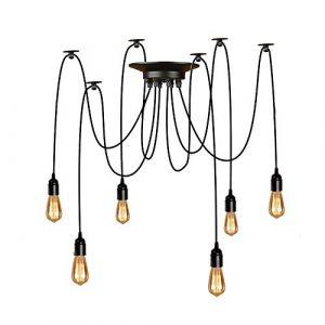 Lightsjoy Suspension Induistrielle Réglable Lampe vintage Rétro Multi-Lumière Lustre Eclairage de plafond Luminaire Pendentif Lampe Araignée 6 Bras Pour Chambre Café Bar (pas d'ampoule) (PeTaJ, neuf)