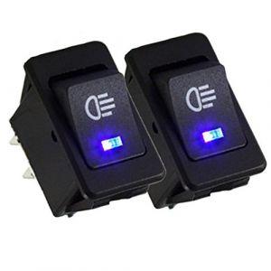 Qiorange 12V 35A Interrupteur à Bascule pour Voiture bouton SPST 4 Broches Electronique Bleu LED Lumière (Bleu 2Pcs) (QIORANGE, neuf)