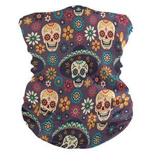 QMIN Bandeau Mexicain en Sucre Tête de Mort Fleur Bandana Visage Protection Soleil Masque Cagoule Magique Cagoule Cagoule pour Femmes Hommes Garçons Filles (QMIN, neuf)