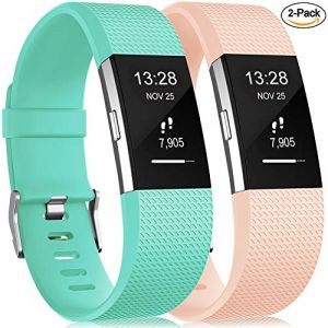 Gogoings Bracelet pour Fitbit Charge 2 - Bracelet Silicone Fitbit Bande de Rechange Réglable Souple Sport Compatible avec Fitbit Charge2 pour Femme & Homme (sans Montre) Lot de 2 (CHENZHILIN, neuf)