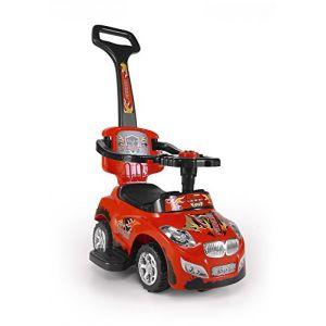 Porteur Auto en 5 couleurs: Voiture pour enfants 3 en 1 évolutif, tige de poussée amovible, siège repliable, Couleur:rouge (Pemicont, neuf)