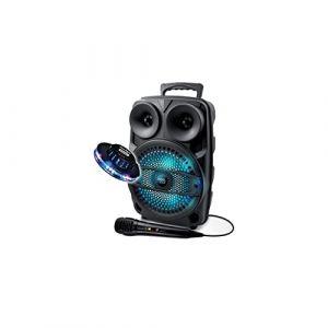 Enceinte Mobile 200W SONO DJ High Power Autonome sur Batterie LED RVB - USB/SD/Bluetooth + Micro + Jeu UFO Ovni (PACK-MANIA, neuf)
