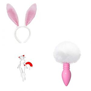 Fluffy Rabbit Bunny Tail an ~ AL Plug pour vous Glamour Female Masquerade Props 2pcs Set Massage Cosplay Props White pink (tyufgt6u, neuf)