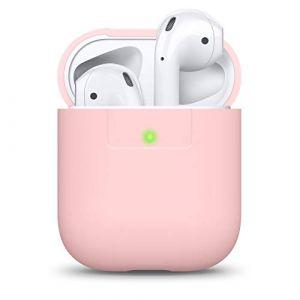elago Étui Compatible avec Apple AirPods 1 & 2 (Témoin LED Visible) en Silicone Non-Toxique Anti-Rayures Plus de Protection - Rose (elago, neuf)