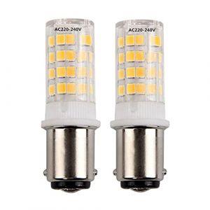 5W Ba15d Led Ampoule 220V, 2835 SMD SBC Baïonnette Double Contact En Céramique Ampoule Blanc Chaud 3000 K, 35W équivalent pour Machine À Coudre Éclairage Appliance (2-PCS) (HRYSPN-FR, neuf)