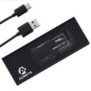 Adwits Adaptateur SSD PCIe Hautes Performances USB 3.1 UASP Type-C vers NVMe M.2, boîtier de Disque Dur Portable pour Samsung, Kingston, ADATA, DREVO et Plus Disque SSD Interne NVMe, Noir (HEHUI, neuf)