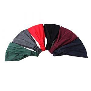 Frcolor 6pcs Coton élastique Bandeau Sports Bandeau Sweat Bandeau Cheveux pour activités de plein air Course à Pied Yoga (Ansuen, neuf)