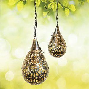 Gadgy Lampe Solaire Suspendu   Lot De 2   Lanterne Led D'extérieur   Pendentifs Decorative Pour Le Jardin, Balcon Et Terrasse   Ip65-etanche   Métal (Gadgysales, neuf)