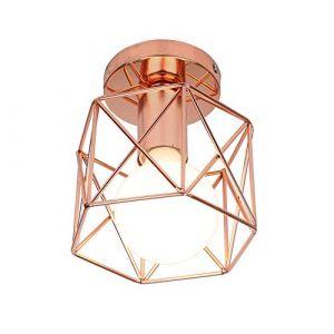 STOEX Retro Plafonnier Industrielle en Métal Carré Fer, Suspension Cage Cube Luminaire E27 pour Salon Chambre Café Bar Restaurent Entrée Couloir (Or rose) (STOEX, neuf)