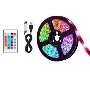 Lumière de LED USB, 5050 RGB 12V DC, Ruban de LED Bande Décorative D'intérieur LED pour des Arrière-plans de TV Lumière Barre de Voiture de Cuisine (5M 150LED) (Doqo-eu, neuf)
