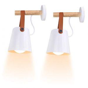 iDEGU Lot de 2 Applique Murale Intérieur Vintage Minimaliste Lampe Murale Moderne E27 Luminaire Abat-jour en Métal avec Support en Bois pour chambre bureau couloir, Blanc (IDEGU, neuf)