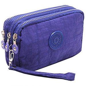 Fueerton multifonctions 3 couches fermeture à glissière clé carte téléphone pochette monnaie argent sac porte-monnaie (Bleu) (Fueerton, neuf)