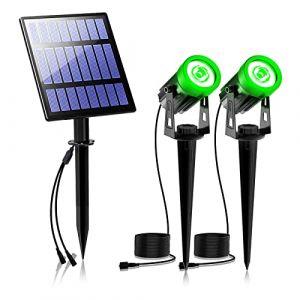 Lampe Solaire Exterieur, T-SUNRISE IP65 Projecteur Solaire Exterieur, Spot Solaire Exterieur Eclairage Auto On/Off pour arbre, patio, cour, jardin vert Lot de 2 (T-SUN Tech EU, neuf)