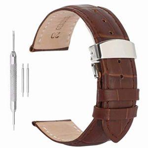 Bracelet Homme 28mm Mens Montres Bracelet Montre de Bande en Cuir Boucle déployante de Remplacement (Autulet Europe, neuf)