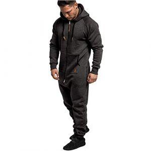 Combinaison Pyjama Homme Ensembles Capuche Grenouillere Long Adulte Salopette Jumpsuit Imprimé Zip Pantalon de Sports Muscle Zipper Youngii(Gris Foncé C,L) (Youngii, neuf)