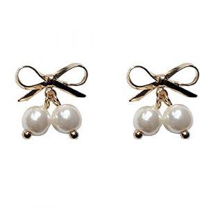 Bijoux de dames Femmes boucles d'oreille délicates papillon noeud noeud boucles d'oreilles perles cadeau élégant pour fille Lady (shenzhenshihengkelongshangmaoyou xiangongsi, neuf)