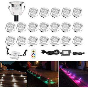 Lot de 20 LED Spot Encastrable Extérieur - Mini spot encastré de Ø30mm Eclairage Encastrables Extérieur pour Terrasse Enterre, IP67 Etanche DC12V Lumière Moderne pour Chemin Escalier Paysage(Multi-Couleur,Changeable) (CHENXU, neuf)